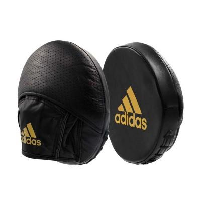 Тактические боксерские лапы Adidas speed disk черно-золотые (кожа) в наличии в магазине Сайд-Степ