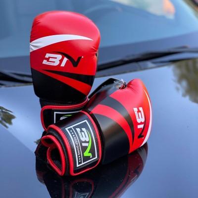 Боксерские перчатки BN fight черно-красные   Сайд-Степ