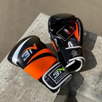 Боксерские перчатки BN fight черно-оранжевые   Сайд-Степ