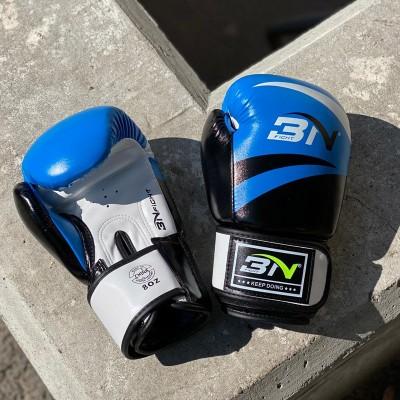 Боксерские перчатки BN fight черно-синие   Сайд-Степ