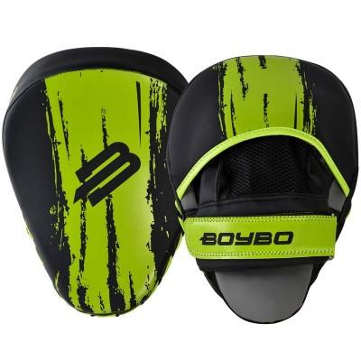 Боксерские лапы BoyBo stain черно-зеленые в наличии в магазине Сайд-Степ