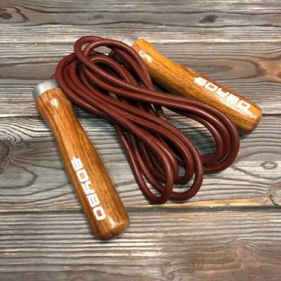 Скакалка кожаная BoyBo деревянные ручки в наличии в магазине Сайд-Степ