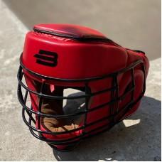 Шлем с металлической решеткой Boybo красный