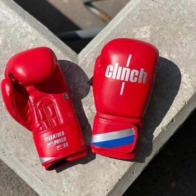 Боксерские перчатки Clinch olimp plus красные (кожа) в наличии в магазине Сайд-Степ