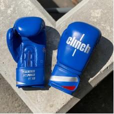 Боксерские перчатки Clinch olimp plus синие (кожа)