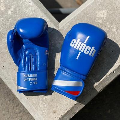 Боксерские перчатки Clinch olimp plus синие (кожа) в наличии в магазине Сайд-Степ