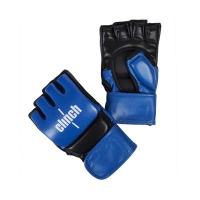 Перчатки ММА Clinch combat сине-черные (кожа) | Сайд-Степ