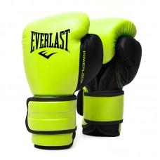 Боксерские перчатки Everlast powerlock pu 2 черно-салатовые