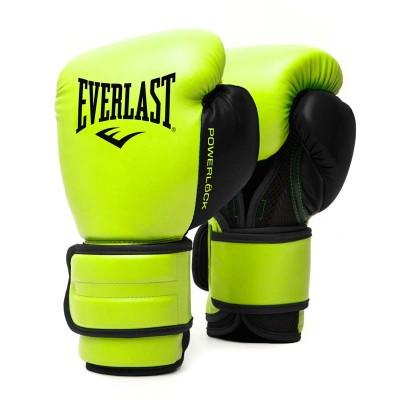 Боксерские перчатки Everlast powerlock pu 2 черно-салатовые в наличии в магазине Сайд-Степ