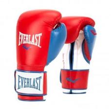 Боксерские перчатки Everlast powerlock pu красно-синие