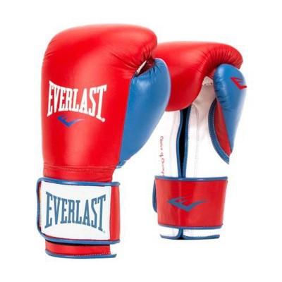 Боксерские перчатки Everlast powerlock pu красно-синие в наличии в магазине Сайд-Степ
