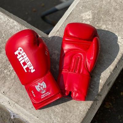 Боксерские перчатки Green Hill rex c лого ФБР красные в наличии в магазине Сайд-Степ