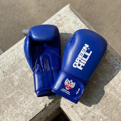 Боксерские перчатки Green Hill super c лого ФБР синие (кожа) в наличии в магазине Сайд-Степ