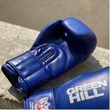 Боксерские перчатки Green Hill super c лого ФБР синие (кожа)