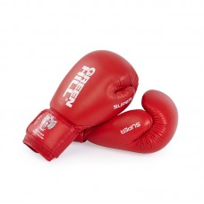 Боксерские перчатки Green Hill super c лого ФБР красные (кожа)