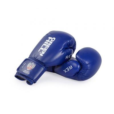 Боксерские перчатки Green Hill rex c лого ФБР синие в наличии в магазине Сайд-Степ