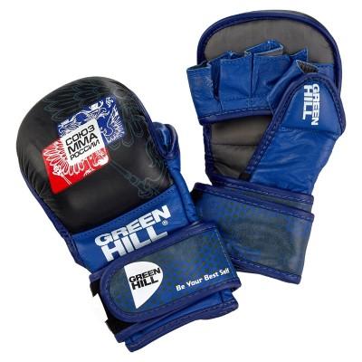 Перчатки ММА Green Hill Союз ММА России черно-синие (кожа) в наличии в магазине Сайд-Степ
