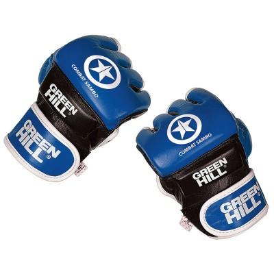 Перчатки MMA Green Hill combat sambo синие (кожа) - Сайд-Степ магазин спортивной экипировки