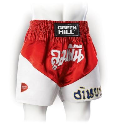 Шорты для тайского бокса Green Hill victory красные | Сайд-Степ