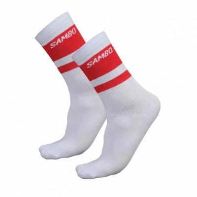 Носки Крепыш Я Самбо classics бело-красные в наличии в магазине Сайд-Степ