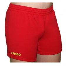 Детские шорты самбо Крепыш Я трикотаж красные