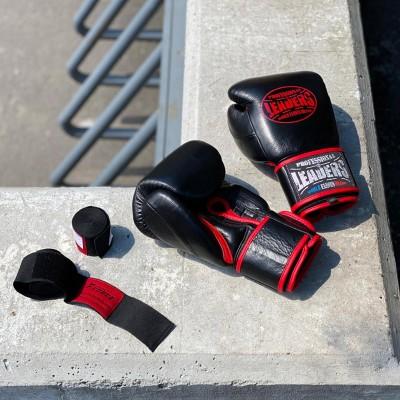 Боксерские перчатки Leaders hero черно-красные (кожа) в наличии в магазине Сайд-Степ