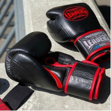 Боксерские перчатки Leaders hero черно-красные (кожа)