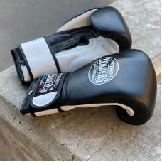 Боксерские перчатки Leaders lead series 2 черно-белые (кожа)