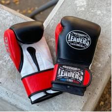 Боксерские перчатки Leaders lite series черно-красные (кожа)