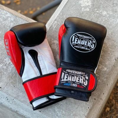 Боксерские перчатки Leaders lite series черно-красные (кожа) в наличии в магазине Сайд-Степ