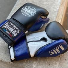 Боксерские перчатки Leaders lite series черно-синие (кожа)