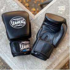 Боксерские перчатки Leaders thai series черные (кожа)