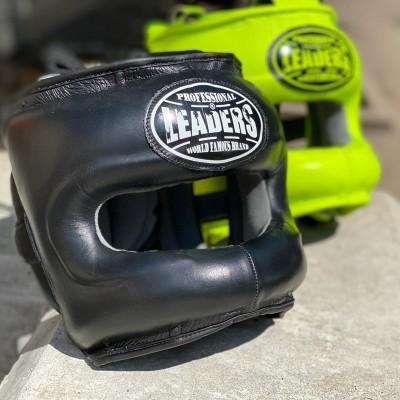 Боксерский шлем с бампером Leaders ls черный (кожа) в наличии в магазине Сайд-Степ