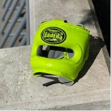 Боксерский шлем с бампером Leaders grn салатовый (кожа)