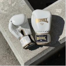 Боксерские перчатки Reyvel бело-золотые