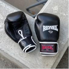 Боксерские перчатки Reyvel черные (кожа)