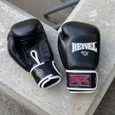 Боксерские перчатки Reyvel черные (кожа) в наличии в магазине Сайд-Степ