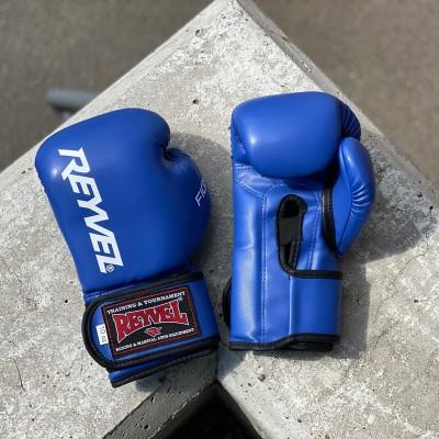 Боксерские перчатки Reyvel fight синие в наличии в магазине Сайд-Степ