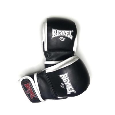 Ударно-захватные перчатки ММА Reyvel pro черно-белые - Сайд-Степ магазин спортивной экипировки