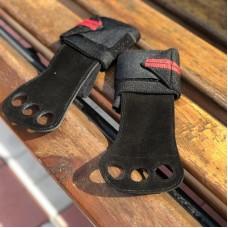 Гимнастические накладки черные с красным манжетом (2 слоя кожи)