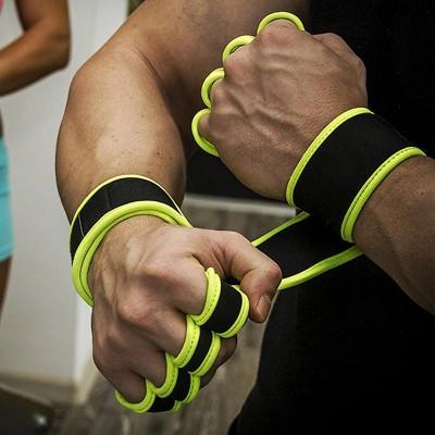 Неопреновые перчатки для турника черно-желтые - Сайд-Степ магазин спортивной экипировки