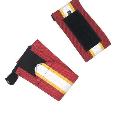 Кистевые бинты красные с белой полосой - Сайд-Степ магазин спортивной экипировки