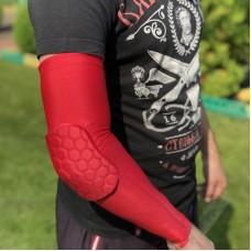 Компрессионные рукава с защитой локтя красные