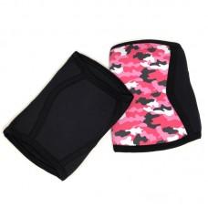 Неопреновые наколенники черно-розовый камуфляж 7 мм