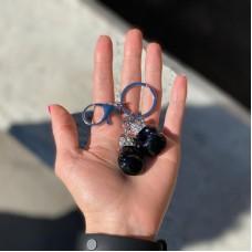 Брелок боксерские перчатки черные на кольце серебро