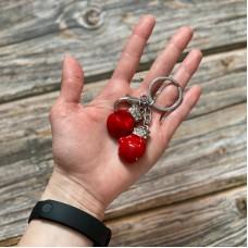 Брелок боксерские перчатки красные на кольце серебро