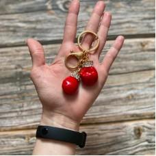 Брелок боксерские перчатки красные на кольце золото