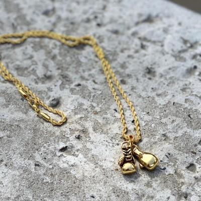 Сувенирный кулон с цепочкой боксерские перчатки mini gold в наличии в магазине Сайд-Степ