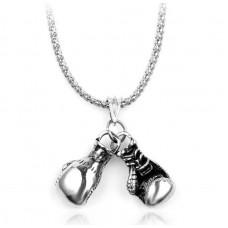 Сувенирный кулон с цепочкой боксерские перчатки mini silver