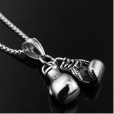 Сувенирный кулон с цепочкой боксерские перчатки silver